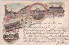 Eisenstadt, u.a. Schloss Forchtenstein, Farblitho, Ansichtskarte, ca. 1900