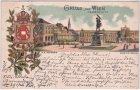 Wien, Heldenplatz mit Hofburg, Wappen, Farblitho, Ansichtskarte, ca. 1895