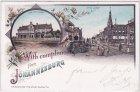Johannesburg (Zuid-Afrika), u.a. Rissik Street, Ansichtskarte, Farblitho, ca. 1895