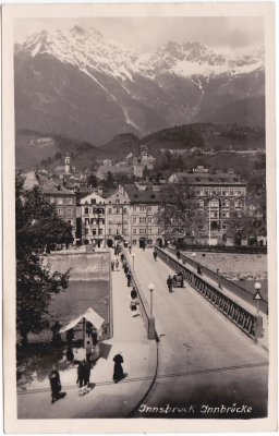 Innsbruck, Brückenansicht, Innstraße, Ansichtskarte, ca. 1935