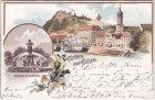 Graz, Brunnen am Stadtpark, Farblitho, Ansichtskarte, ca. 1895